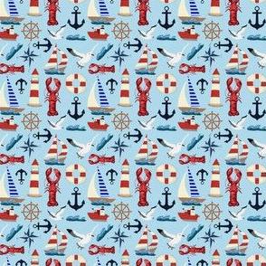 Tiny Nautical Sailboats on Blue