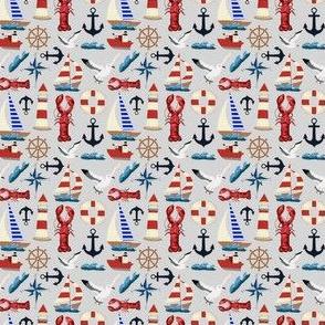 Tiny Nautical Sailboats on Gray