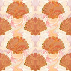 Marbled Seashells orange (large)