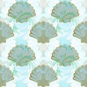Marbled seashells in aquama