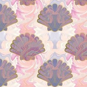 Marbled seashells in mermaid pink
