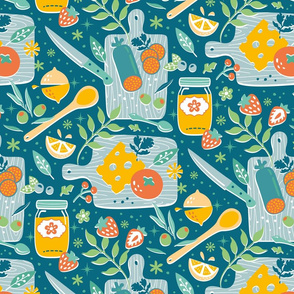 food & kitchen boards - teal & green