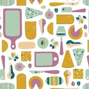 Retro cheese board kitchen design - medium size
