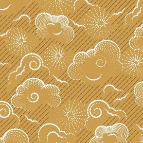 Cloudy Liquid Sunshine- Boho Weather Forecast- Gold- Large Scale