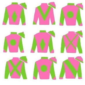 Vs 3, Jockey Silks - Preppy  Pink, Green  & White