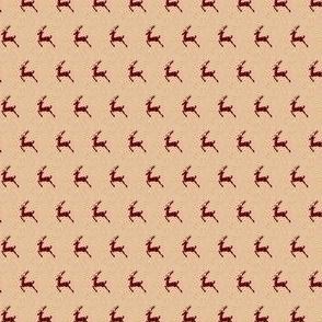 Tiny Buffalo Plaid Reindeer on Kraft Paper