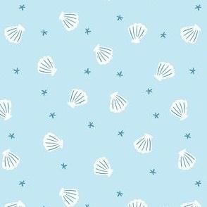 Scattered seashells (blue)