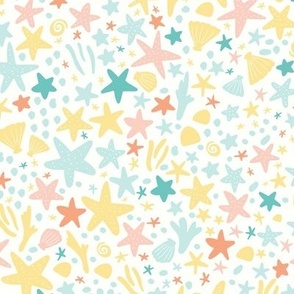 Starfish galore in golden glow