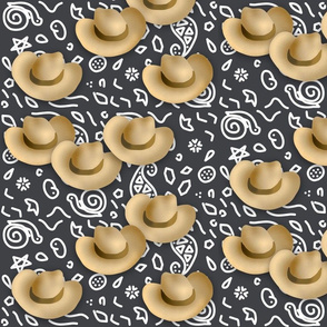 Cowboy Hats Charcoal Bandana Print