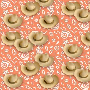 Cowboy Hats Orange Bandana Print