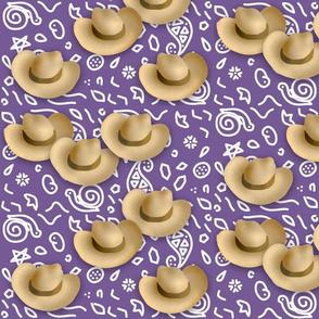 Cowboy Hats Purple Bandana Print