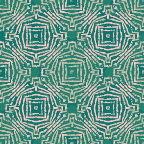 abstract geometric in green and pink by rysunki_malunki