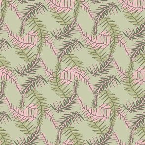 tropical leaves in green and pink by rysunki_malunki