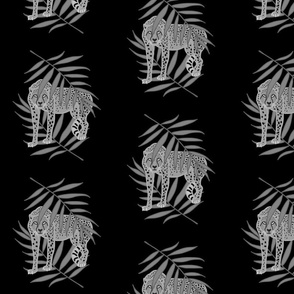 Cheetah Jungle Camouflage - greyscale on black, medium