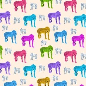 Rainbow Cheetahs! - cream beige, medium