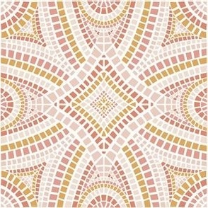 Moroccan mosaic tile in pink and gold