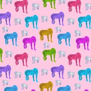 Rainbow Cheetahs! - pink, medium