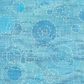 Sashiko Rain - Tropical Sea (xl scale) | Turquoise water with raindrops, rainstorm, Sashiko stitching ripples on water, circles fabric, beach fabric, coastal decor.