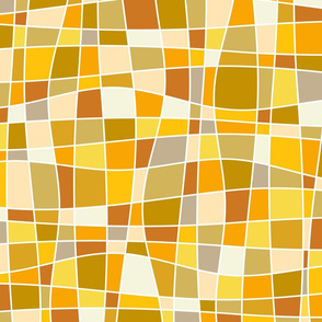 sunny day - twisted sunny mosaic - yellow abstract curves