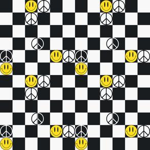 Checkered Smiley Faces & Peace Symbols