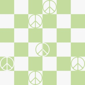 Checkered Peace Sign (Light Green Color)