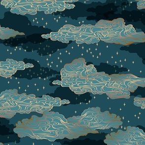 Clouds and Stars {Blue/Gold} large