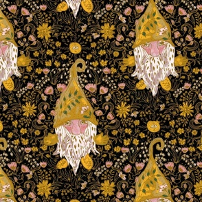 Flowering Gnomes Black and Gold Large scale