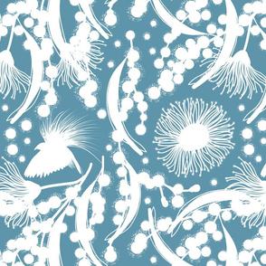 Wattle, Blossom Paradise - white on steel blue, medium/large