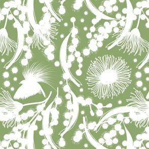 Wattle, Blossom Paradise - white on jade green, medium/large