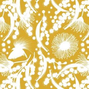 Wattle, Blossom Paradise - white on antique gold, medium/large