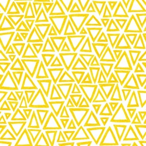 crayon triangles in yellow on white
