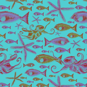 Fantasy of fish and octopus  Turquoise