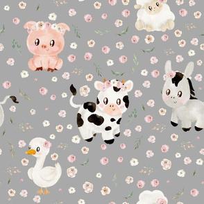 blush farm animals light grey
