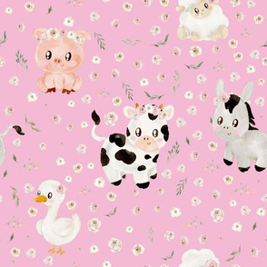 blush farm animals pink