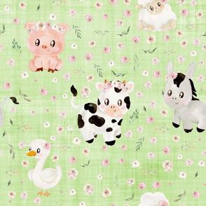 blush farm animals green linen