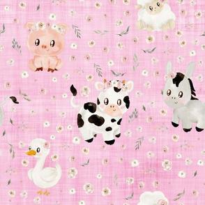 blush farm animals pink linene