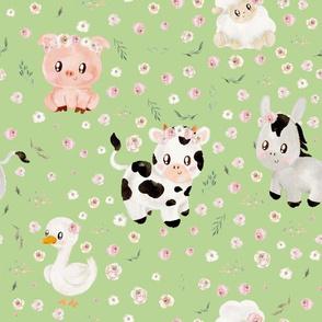 blush farm animals pale green