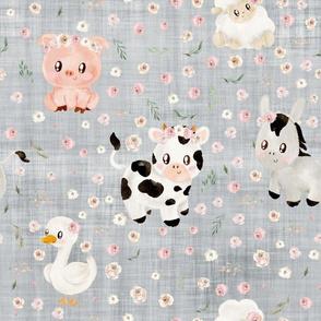 blush farm animals grey linen