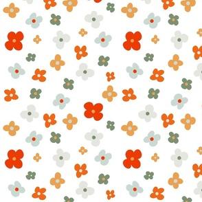 Orange dusty blue gray florals