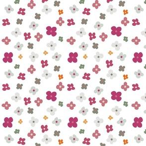 Pink Merlot Blue Gray Floral Pattern