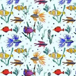 Maldives underwater life - watercolor ocean fish - summer sea marine vibes a351-7
