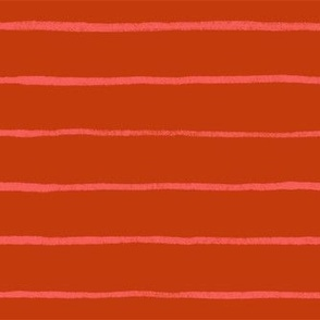 Red with Hot Pink Hand-Drawn Stripes