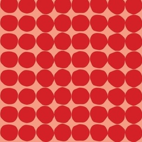 Red Organic Dots on Coral Pink