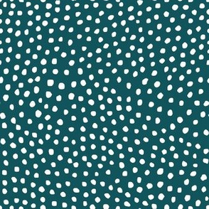 Deep Teal with Organic White Mini Dot