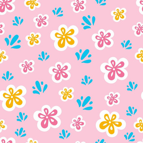 Kiwi and kit_retro flowers and splash pattern_pink