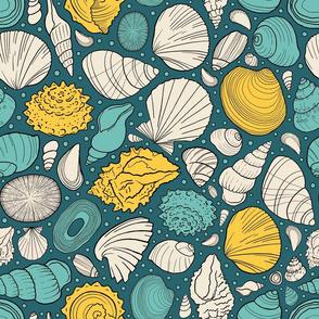 Sunny ocean seashells
