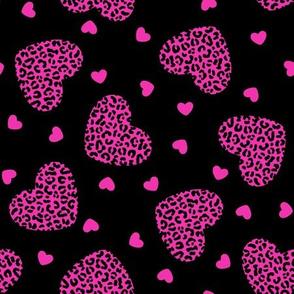 2 Color Leopard Print Hearts: Pink on Black