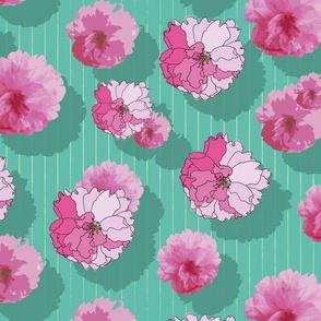 Cherry Blossom - Green Background