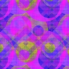 summer circles and diagonal plaid canvas texture effect purple green fuchsia water sun sky psmge