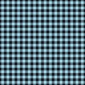 Small Gingham Pattern - Arctic Blue and Midnight Black